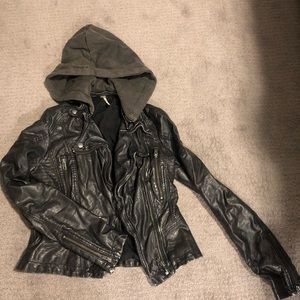 Free People faux black leather jacket with hood